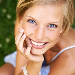 Woman with flawless white smile
