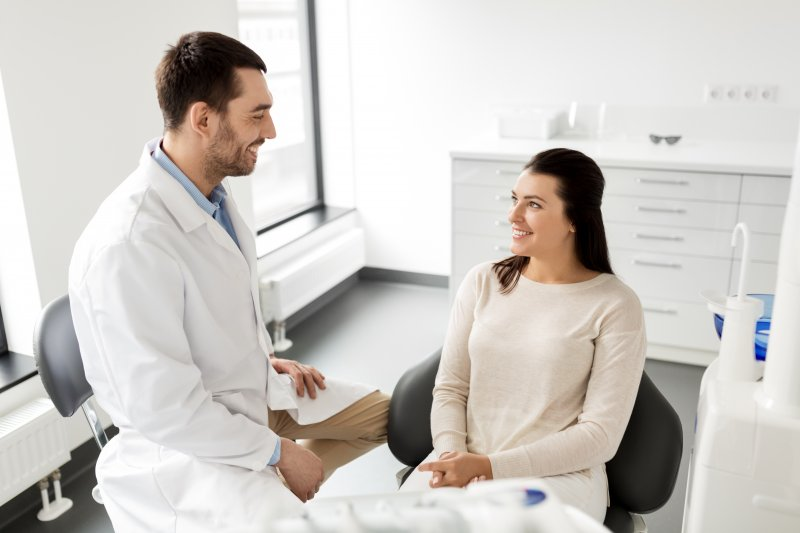 Woman at dental implant consultation